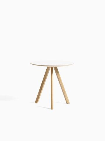 White Copenhague Side Table with wooden legs, viewed from the front.