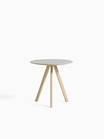 Gray Copenhague Side Table with oak base, viewed from the front.