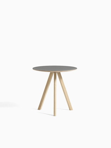 gray Copenhague Side Table with wooden legs, and hover image is in all oak. Select to go to the Copenhague Side Table product page.