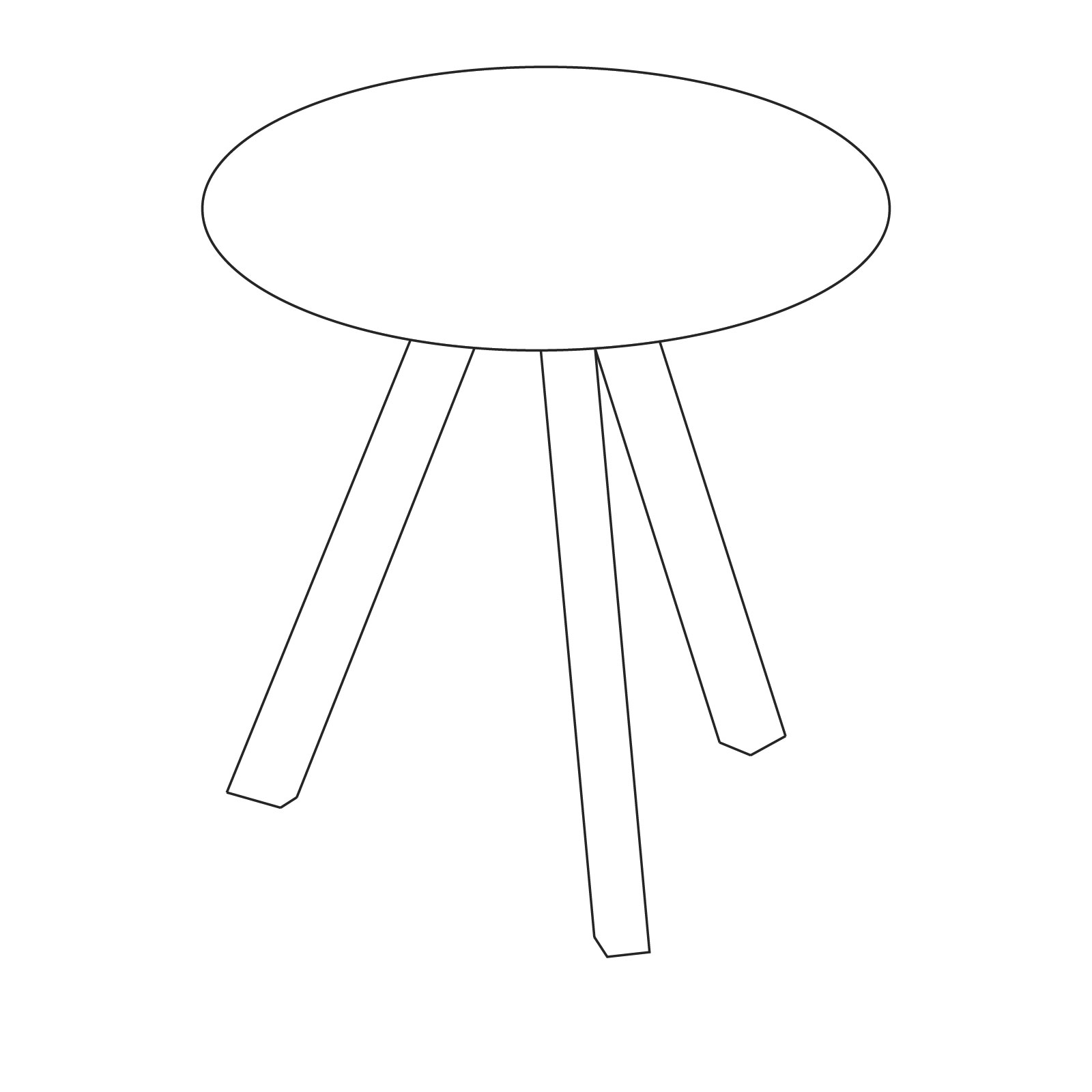 A line drawing of Copenhague Table–Round.
