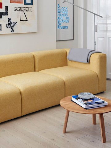 Yellow Mags Sectional Sofa 3-seater in a living room with a Bella Coffee Table.