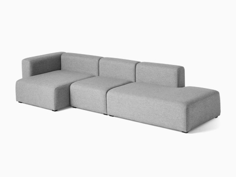 gray 3-piece Mags Sectional Sofa, viewed at an angle.