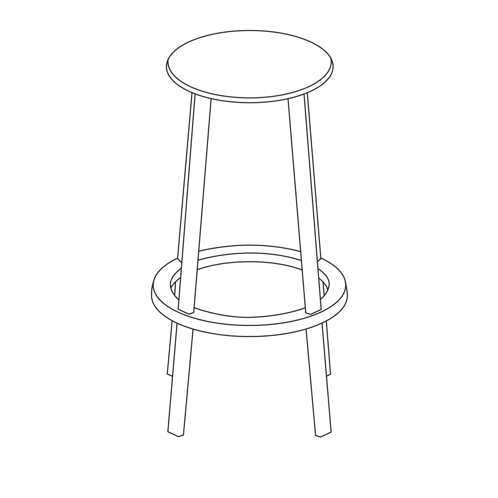 A line drawing of Revolver Stool–Bar Height.