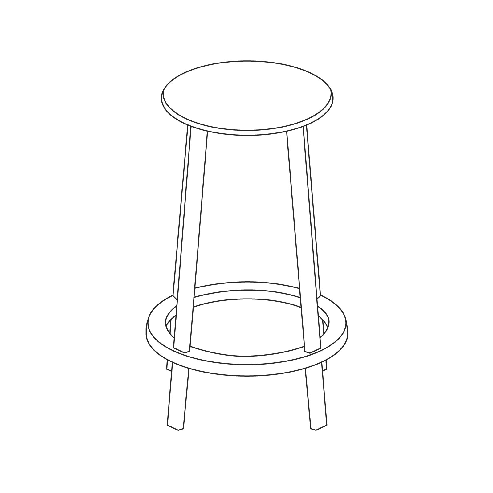 A line drawing of Revolver Stool–Counter Height.