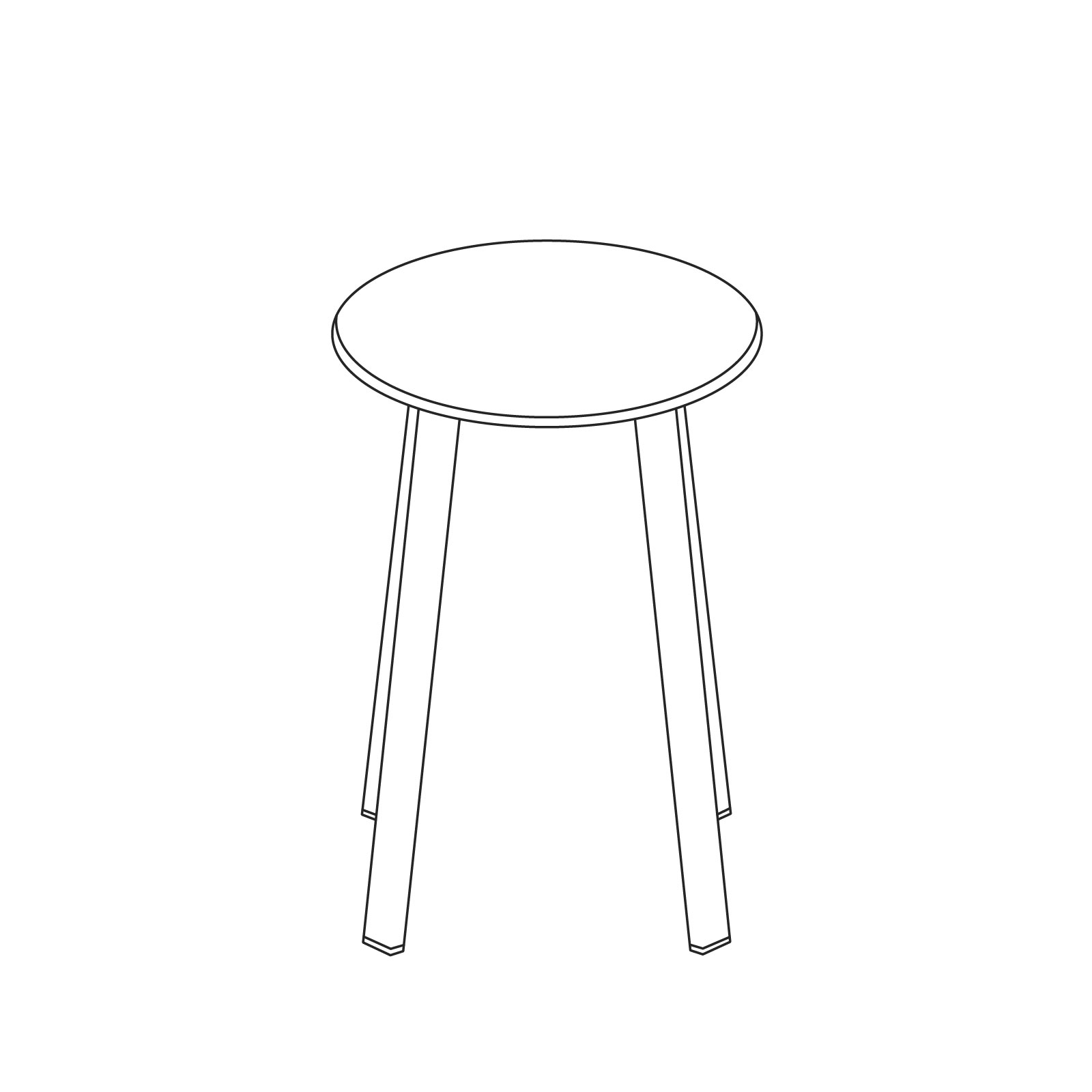 A line drawing of Revolver Stool–Low.