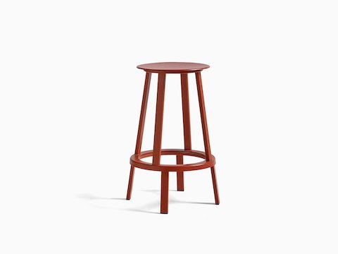 Red Revolver Stool, viewed at an angle.