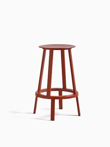 A black Revolver Stool with hover image in red. Select to go to the Revolver Stool product page.