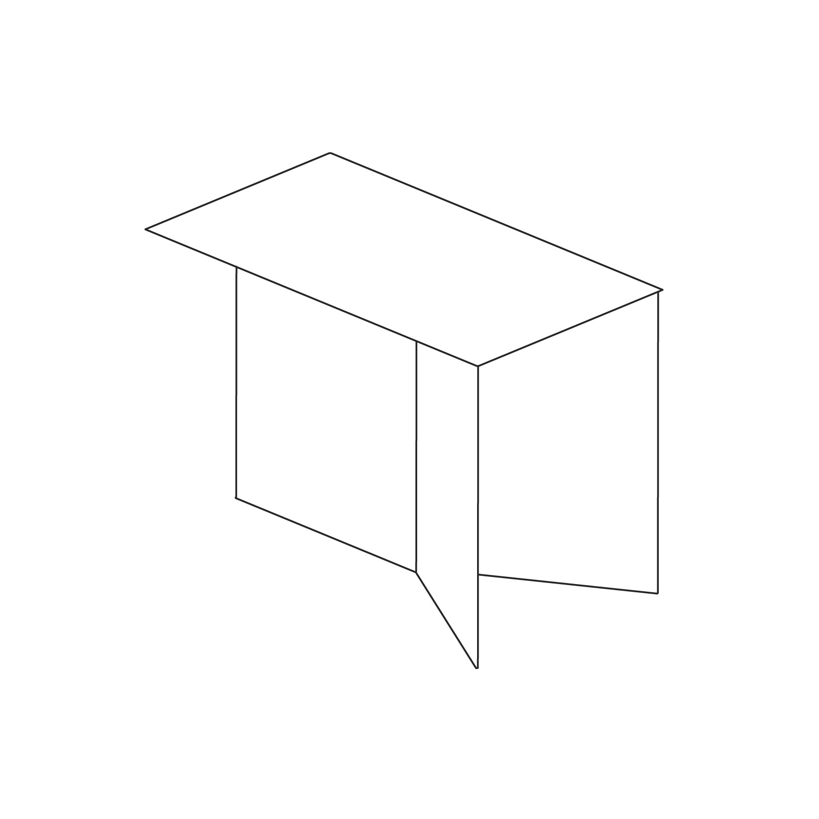 A line drawing of Slit Table–Oblong.