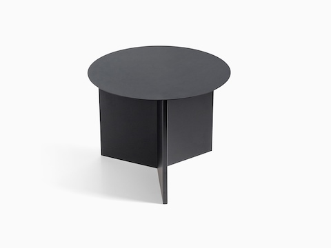 Round Slit Table in black, viewed from the front.