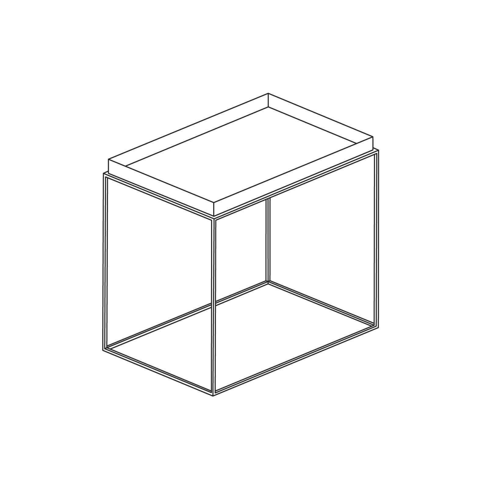 A line drawing of Tray Side Table–Rectangle.