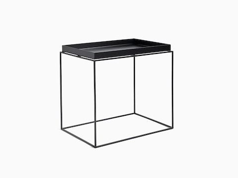 Black, rectangle Tray Side Table, viewed at an angle.
