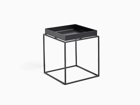 Black, square Tray Side Table, viewed at an angle.