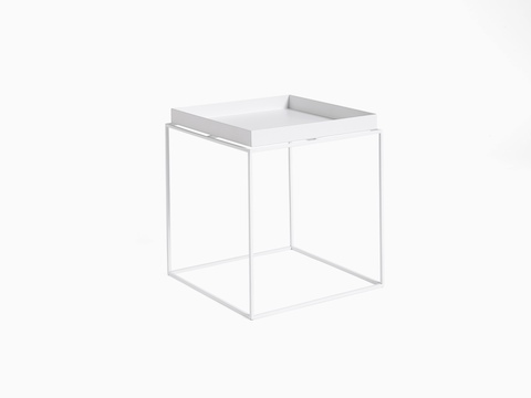 White, square Tray Side Table, viewed at an angle.