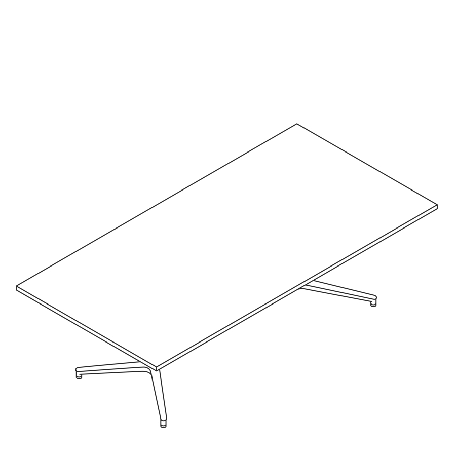 A line drawing of a Headway Table Y Base, seated height, rectangle shape.