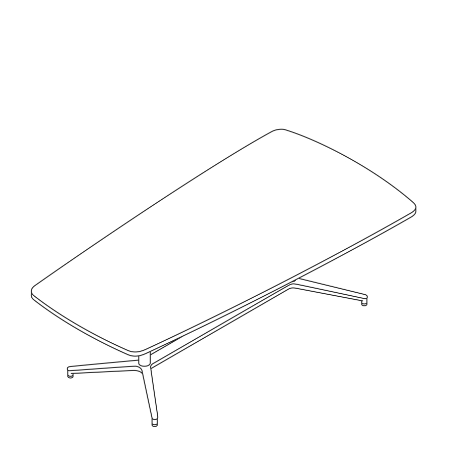 A line drawing of a Headway Table Y Base, seated height, tapered shape.
