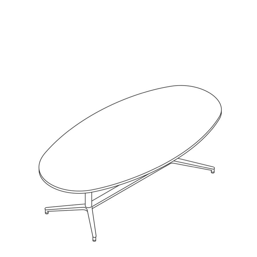 A line drawing of a Headway Table Y Base, seated height, oval shape.