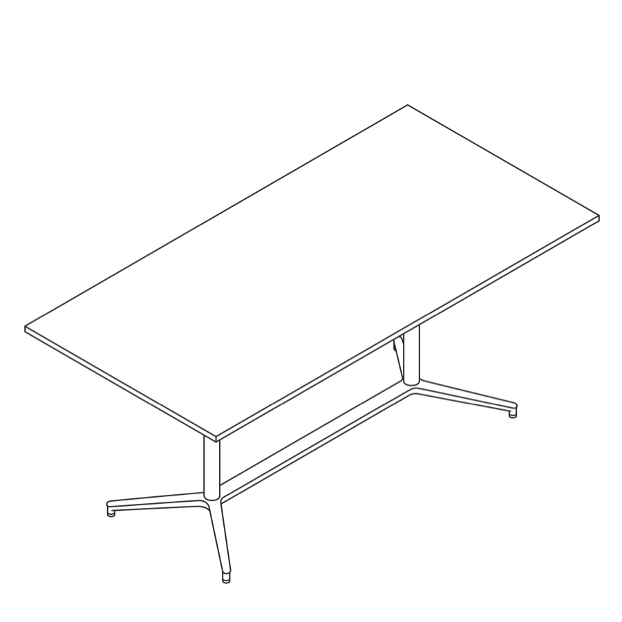 A line drawing of a Headway Table Y Base, standing height, rectangle shape.