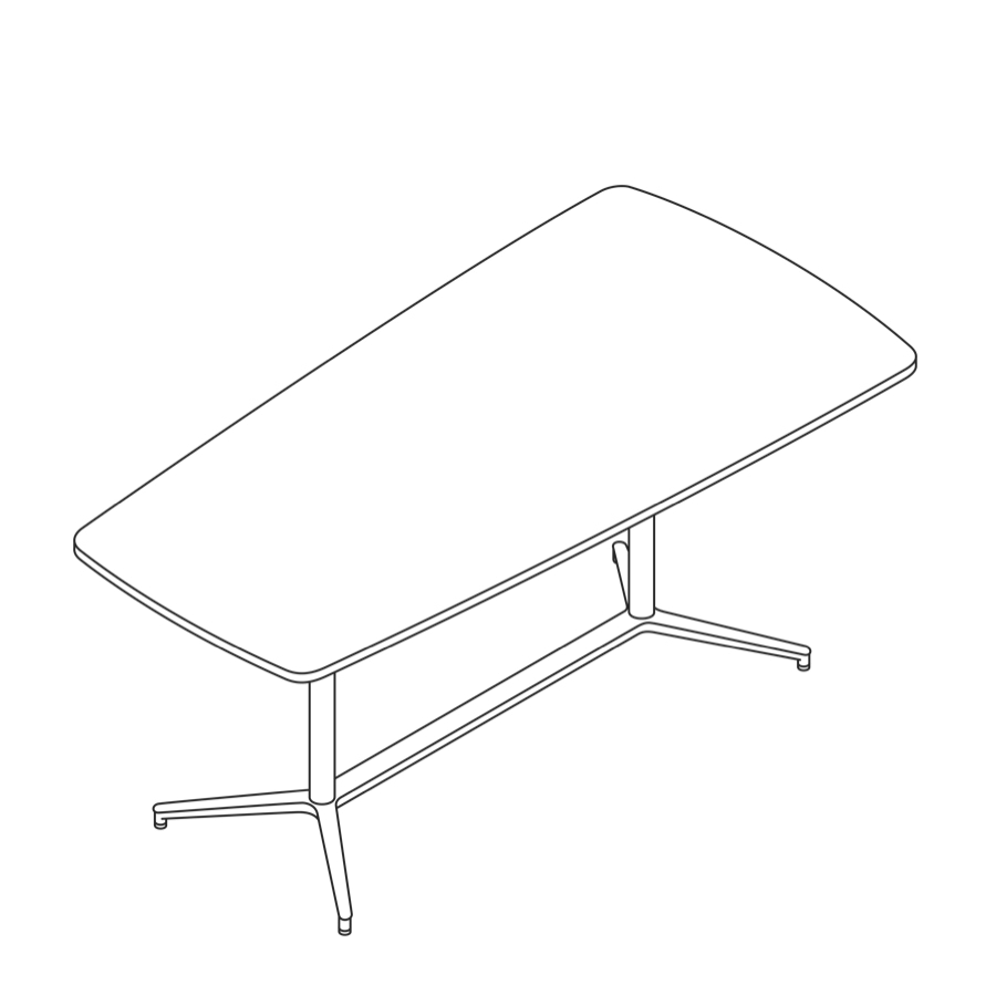 A line drawing of a Headway Table Y Base, standing height, tapered shape.