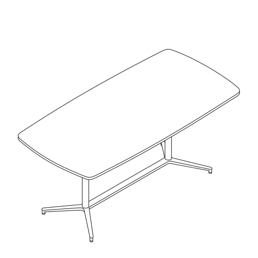 A line drawing of a Headway Table Y Base, standing height, boat shape.