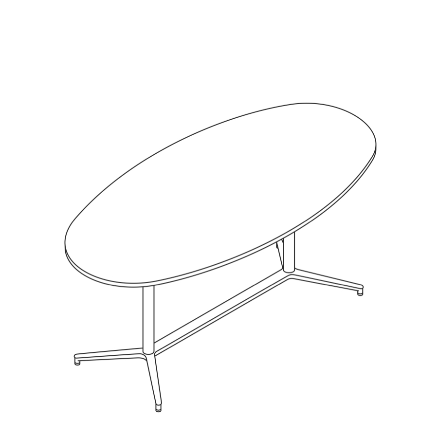 A line drawing of a Headway Table Y Base, standing height, oval shape.