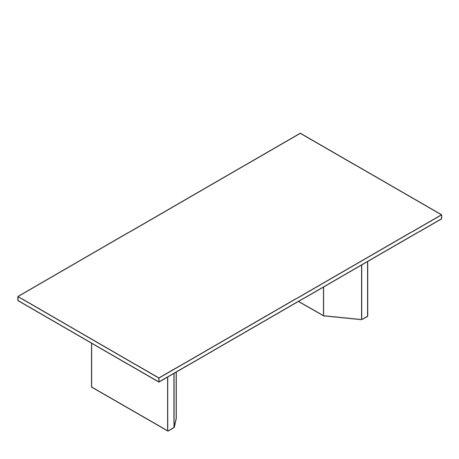 A line drawing of a Headway Table cabinet base and rectangle shape.