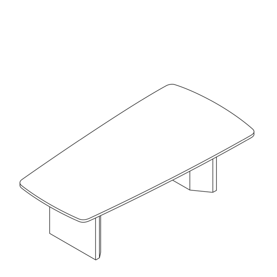 A line drawing of a Headway Table cabinet base and tapered shape.