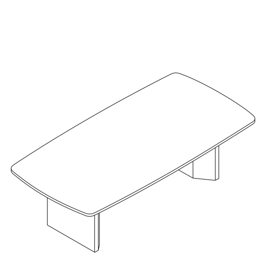 A line drawing of a Headway Table cabinet base and boat shape.