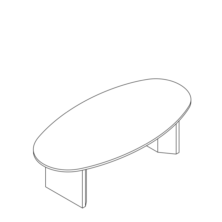 A line drawing of a Headway Table cabinet base and oval shape.