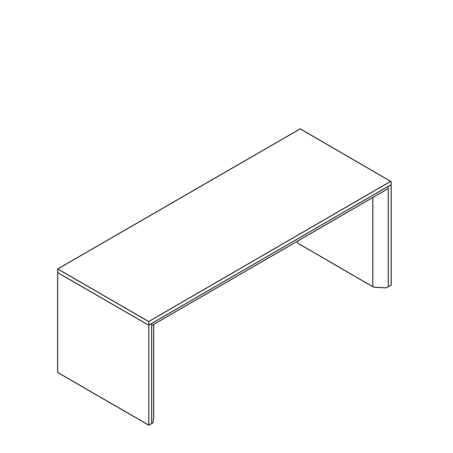 A line drawing of the Headway Table communal counter height.