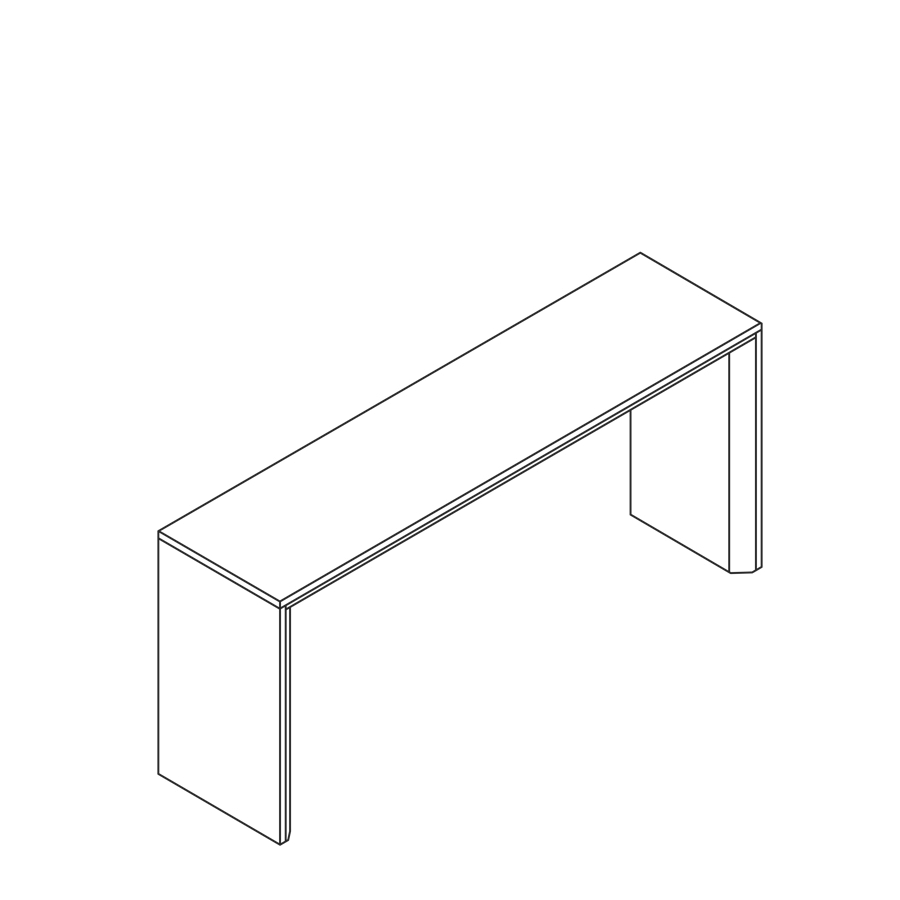 A line drawing of the Headway Table communal standing height.