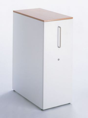 A white storage tower with a woodgrain top.