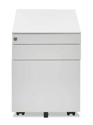 A white Box pedestal with two box drawers and one file drawer, viewed from the front.
