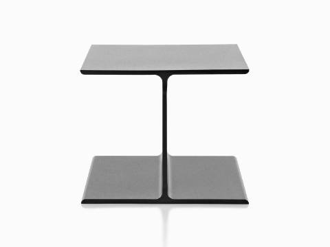 A cast aluminum I Beam occasional table with a bare top.