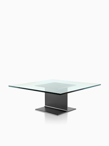 A square I Beam Table with a glass top. Select to go to the I Beam Tables product page.