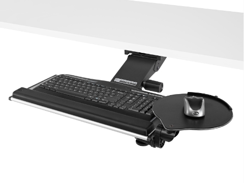 A Keyboard Support with attached mouse platform extends out from beneath a work surface.
