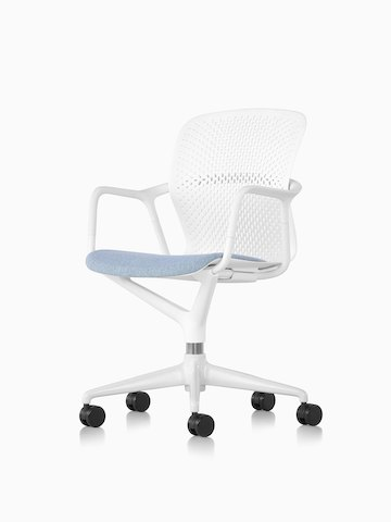 White and blue Keyn Chair with five-star base. Select to go to the Keyn Chair Group product page.
