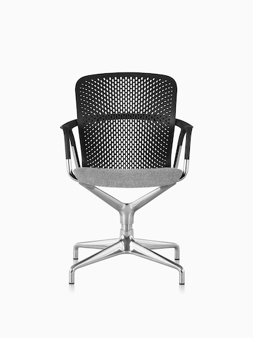 A black Keyn meeting chair with a grey upholstered seat.
