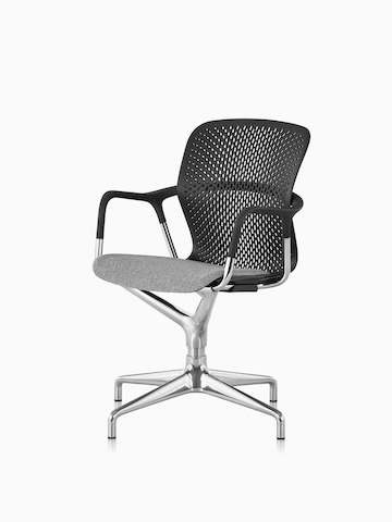 A black Keyn meeting chair with a grey upholstered seat. Select to go to the Keyn Chair Group product page.