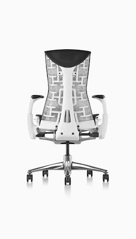Rear view of a black Embody office chair. Select to go to the Herman Miller seating landing page.