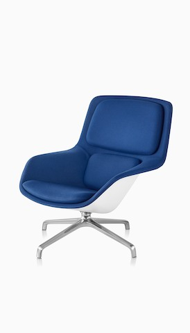 Angled view of a blue Striad Lounge Chair. Select to go to the Herman Miller Collection landing page.
