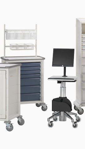 Clinical carts in various configurations. Select to go to the Herman Miller clinical landing page.