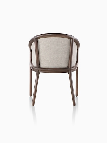 Landmark Chair with taupe upholstery and a dark wood frame, viewed from the rear.