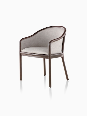 Landmark Chair with taupe upholstery and a dark wood frame, viewed from a 45-degree angle.