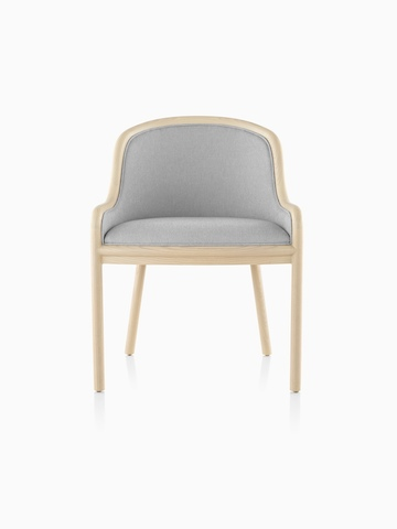 Landmark Chair with light gray upholstery and a light wood frame, viewed from the front.