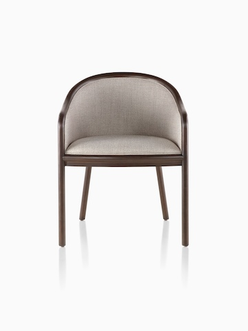 Landmark Chair with taupe upholstery and a dark wood frame, viewed from the front.
