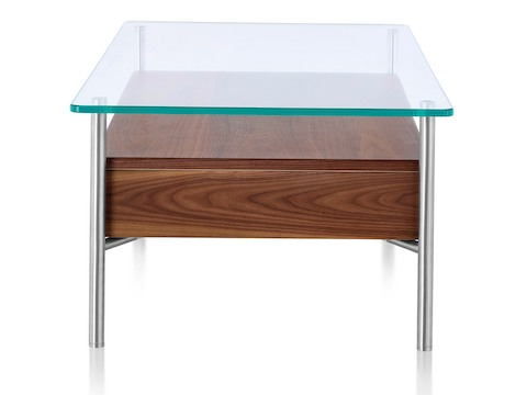 A rectangular Layer occasional table with a glass top and wood box drawers below, viewed from the narrow end.