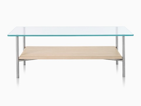 A Layer occasional table with a thin glass top and a thick light wood lower shelf.