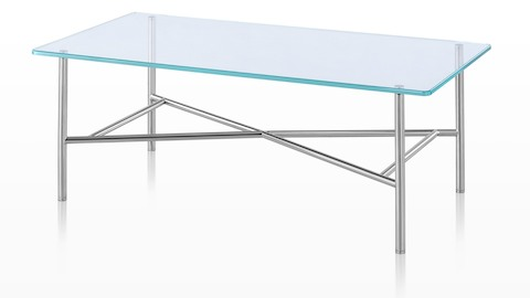 A rectangular Layer occasional table with a glass top and distinctive cross-bracing below.