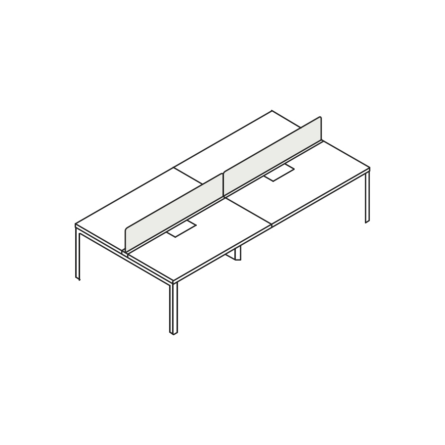 A line drawing of a four-person Layout Studio bench with a center privacy screen.