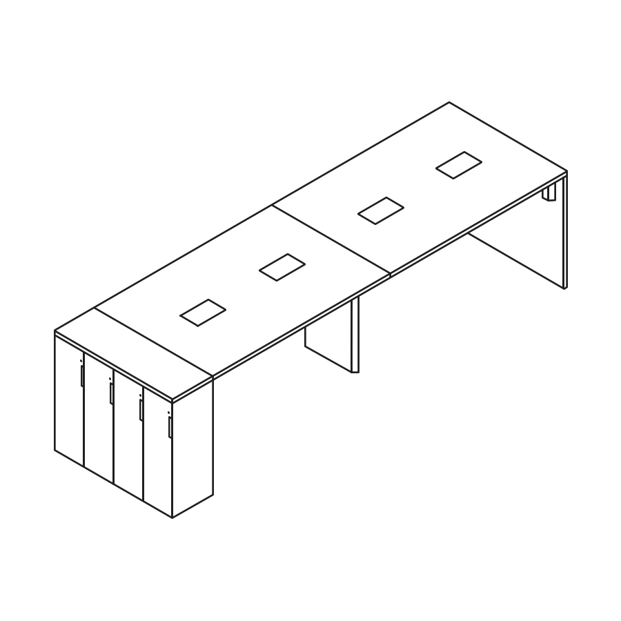 A line drawing of an eight-person Layout Studio standing-height bench with Tu Storage lockers at one end.